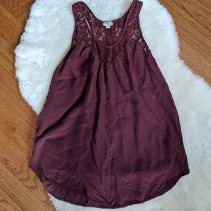 Aritzia Wilfred oxblood silk and lace tank top